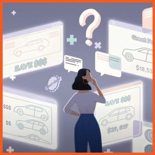 Car Buying - Woman Looking at Car Deals