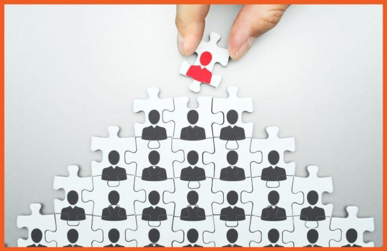 Executive Benefits - Puzzle Piece Pyramid with Avatars